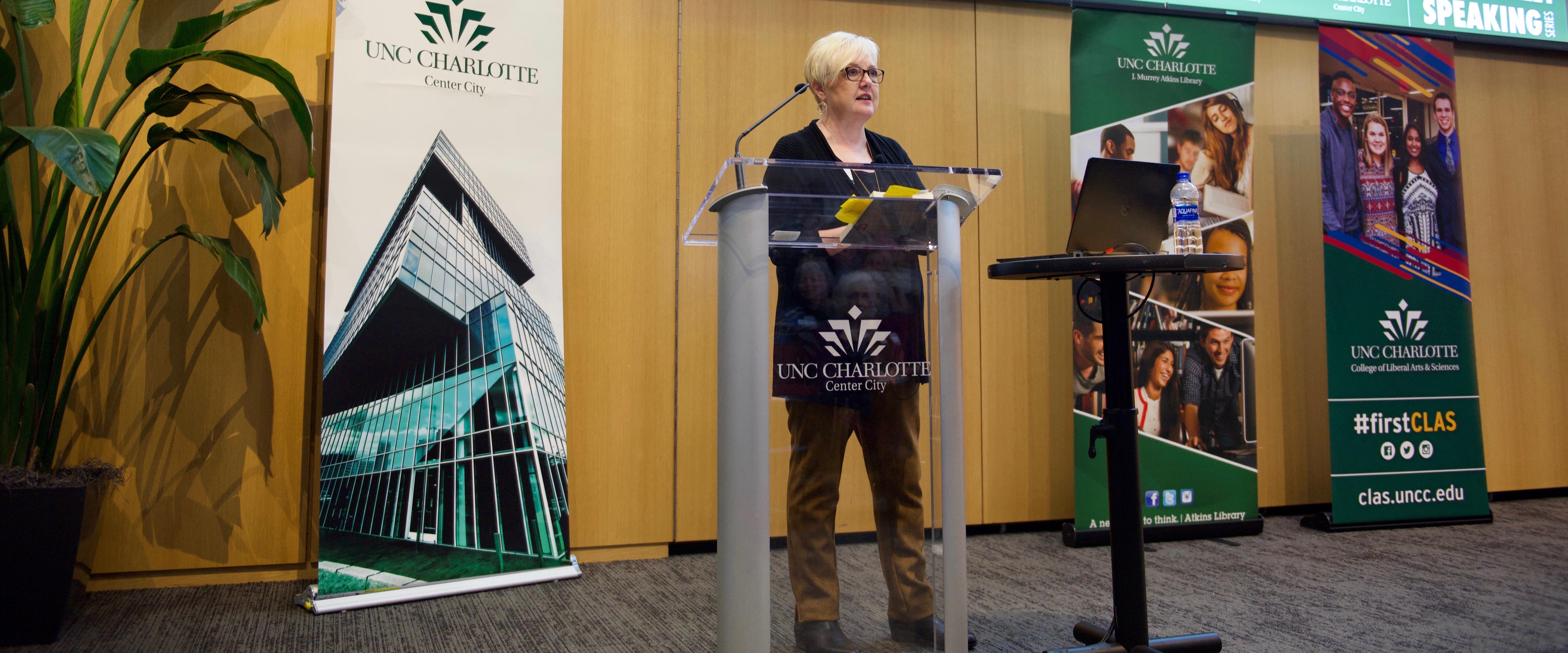 Karen Cox giving a talk
