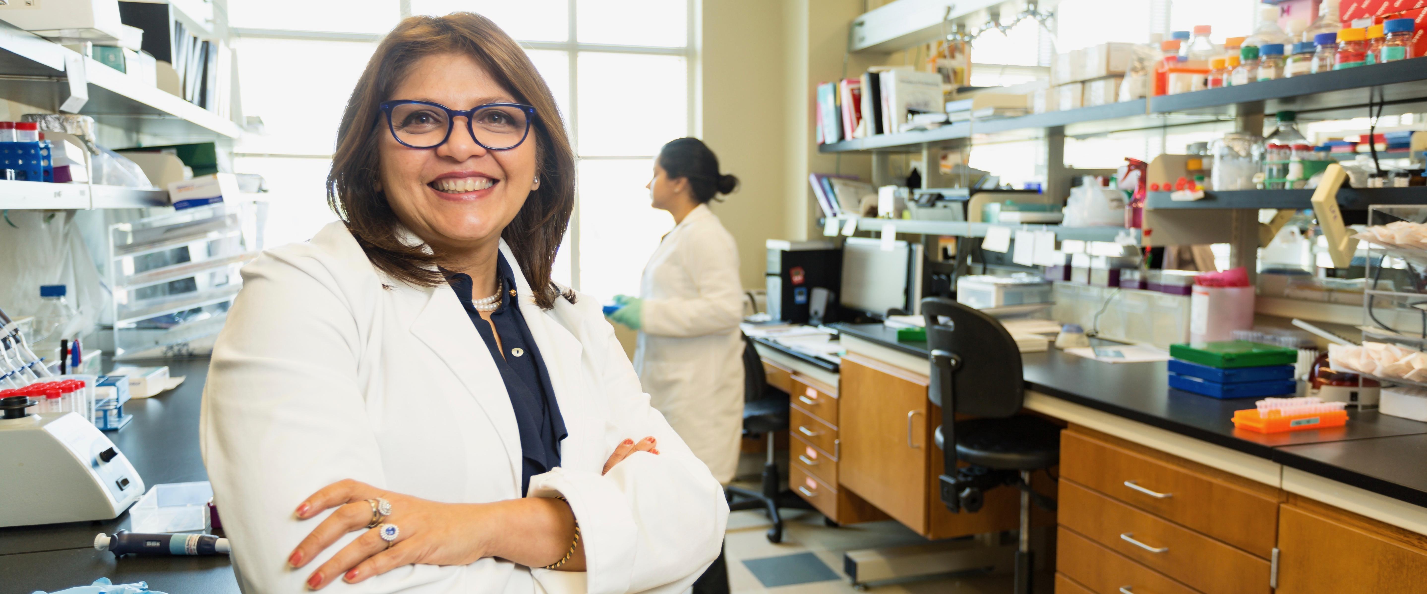 Pinku Mukherjee in lab