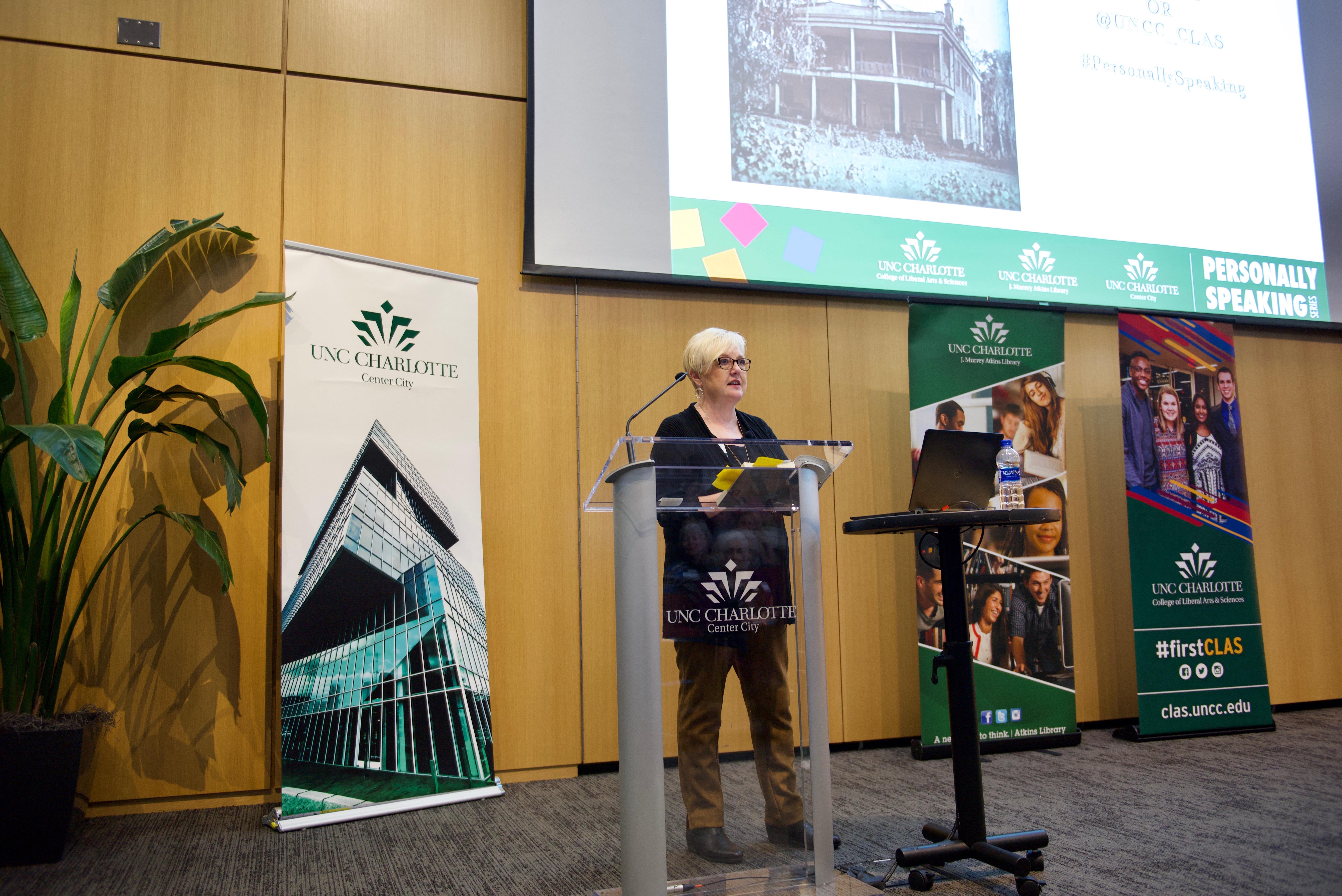 Karen Cox giving a talk.