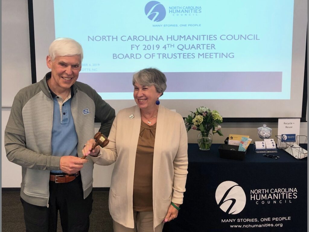 Former Council Board Chair William L. Andrews (2018-2019) passes the gavel to Council Board Chair Nancy A. Gutierrez (2019-2020).